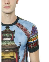 Dolce & Gabbana | Multicolor Pagoda Printed Cotton Jersey T-shirt for Men | Lyst