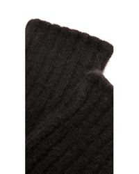 White + Warren   Black Cashmere Plush Rib Arm Warmers   Lyst