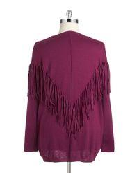 DKNY | Pink Plus Fringe Knit Sweater | Lyst
