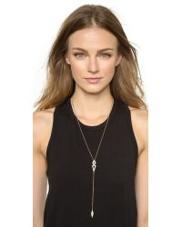 Noir Jewelry | Metallic Lariat Necklace - Gold/clear | Lyst