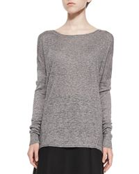 Vince - Black Textured Long-sleeve Boat-neck Top - Lyst
