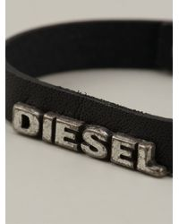 DIESEL - Black Logo Bracelet for Men - Lyst