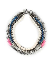 Venna | Metallic Pearly Spiked Collar Necklace | Lyst
