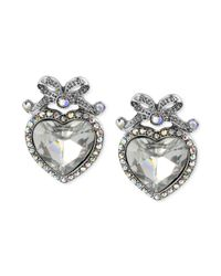 Betsey Johnson - Metallic Crystal Heart Bow Stud Earrings - Lyst
