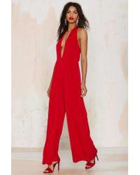 Glamorous - Red Shalamar Halter Jumpsuit - Lyst