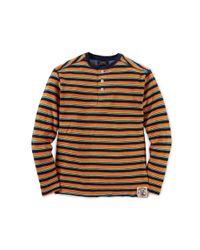 Ralph Lauren - Brown Striped Cotton Henley - Lyst