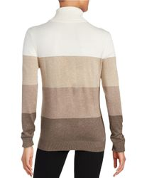 Calvin Klein | Natural Colorblocked Turtleneck | Lyst