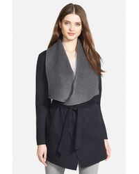 SOIA & KYO | Blue Double Face Wool Blend Wrap Coat | Lyst
