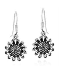 Aeravida | Metallic Charming Sunflower Sterling Silver Dangle Earrings | Lyst