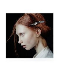 Colette Malouf | Metallic Metal Scribble & Diamonds 10cm Barrette | Lyst
