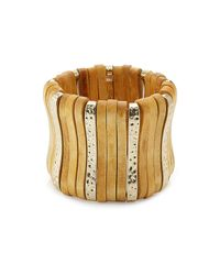 Kenneth Jay Lane | Metallic Wood-brass Statement Bangle | Lyst