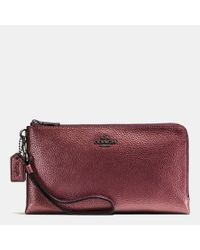 COACH - Pink Double Zip Wallet In Metallic Pebble Leather - Lyst