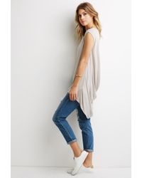 Forever 21 | Natural High-low Longline Tee | Lyst