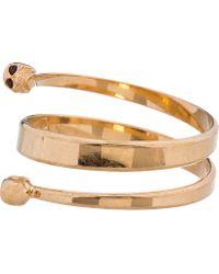Alexander McQueen | Metallic Gold Spiral Twin Skull Bracelet | Lyst
