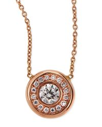 Roberto Coin - Pink 18k White Gold Pave Diamond Pendant Necklace - Lyst