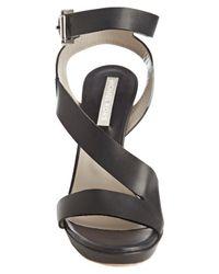 Michael Kors   Blue Navy Leather Buckle Peep Toe Pumps   Lyst