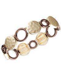 Jones New York | Metallic Gold-Tone Brown Ring Stretch Bracelet | Lyst