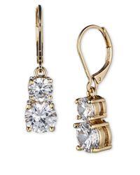 Anne Klein | Metallic Gold-tone Pave Crystal Drop Earrings | Lyst