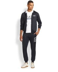 Emporio Armani - Blue Logo Full-Zip Hoodie Jacket for Men - Lyst