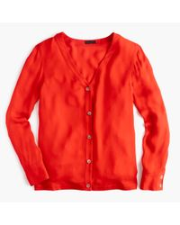 J.Crew - Red Collection Silk Cardigan Top - Lyst