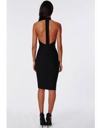 Missguided - Stretch Crepe High Neck Midi Dress Black - Lyst