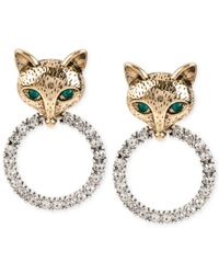 Betsey Johnson | Metallic Gold-tone Fox Crystal Ring Earrings | Lyst