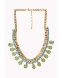 Forever 21 - Blue Teardrop Faux Gemstone Bib Necklace - Lyst
