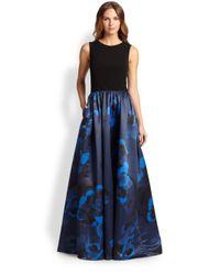 Aidan Mattox - Black Jersey Printed-Skirt Gown - Lyst