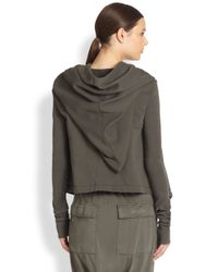 DRKSHDW by Rick Owens | Gray Cropped Tie-front Hoodie | Lyst