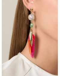 Gas Bijoux - Red Feather Drop Earrings - Lyst