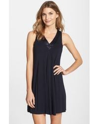 Midnight By Carole Hochman | Blue Charmeuse Trim Jersey Chemise | Lyst