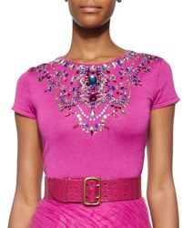 Ralph Lauren Collection - Purple Jeweled Short-sleeve Cashmere-blend Top - Lyst