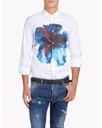 DSquared² - White Blue Hibiscus Relax Dan Shirt for Men - Lyst