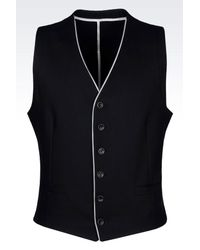 Armani - Black Gilet In Stretch Cotton Pique for Men - Lyst