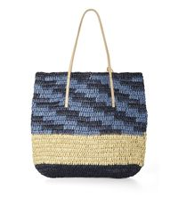 BCBGMAXAZRIA - Blue North-South Space-Dyed Straw Tote - Lyst