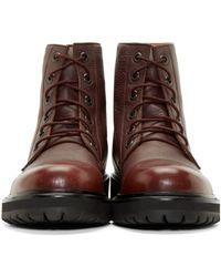 Marc Jacobs - Purple Burgundy Leather Combat Boots for Men - Lyst