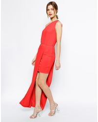 ASOS - Red Maxi Dress With Asymmetric One Shoulder - Lyst