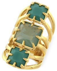 Vince Camuto - Green Gold-Tone Drama Ring - Lyst