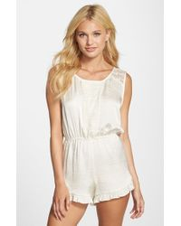 Band Of Gypsies - White Lace Trim Romper - Lyst