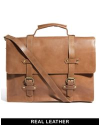 ASOS - Brown Double Strap Leather Satchel for Men - Lyst