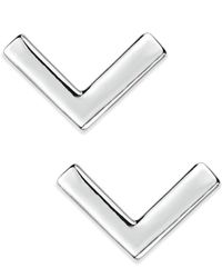 Lauren by Ralph Lauren | Metallic Silver-Tone V-Shaped Stud Earrings | Lyst