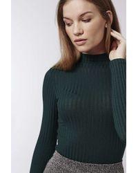 TOPSHOP | Green Petite Rib Roll-neck Top | Lyst