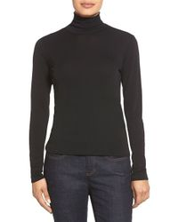 Eileen Fisher - Black Scrunch Neck Silk Top - Lyst