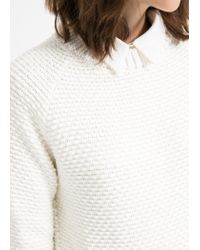 Mango - White Textured Chunkyknit Sweater - Lyst
