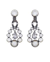Bottega Veneta - Metallic Cubic-zirconia And Silver Drop Earrings - Lyst