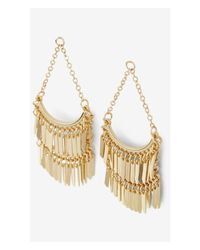 Express - Brown Tiered Fringe Chandelier Earrings - Lyst