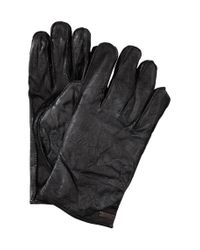 BOSS Orange | Black Buffalo Leather Gloves 'gans' for Men | Lyst