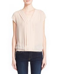 Joie - White 'marcher' Pleated Silk Top - Lyst