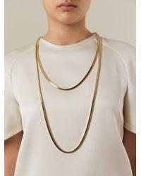 Lanvin | Metallic Double Chain Necklace | Lyst