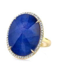 Anne Sisteron | Metallic 14kt Yellow Gold Blue Sapphire Diamond Oval Cocktail Ring | Lyst